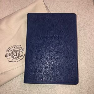 Ghurka THE WORLD travel Leather lined journal Blue